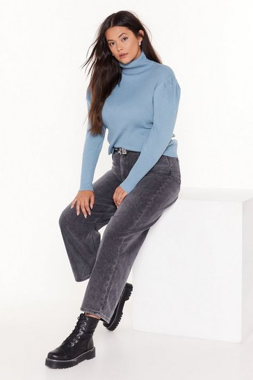Denim-blue Rubbing Shoulders Plus Turtleneck Sweater
