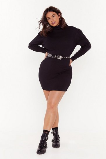 Womens Black Take Me or Sleeve Me Plus Ribbed Dress