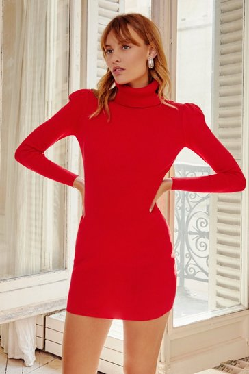 Red Puff Act to Follow Turtleneck Mini Dress