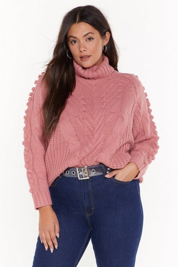 Womens Rose Have Knit Your Way Plus Cable Neck Turtleneck Sweater