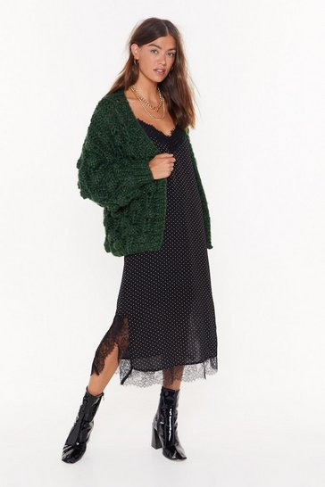 Green I Like Big Bobbles Chunky Knit Cardigan