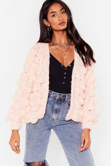 Pink I Like Big Bobbles Chunky Knit Cardigan