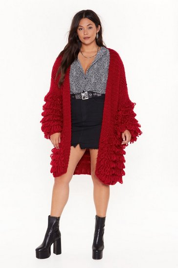 Womens Red Out the Loop Knitted Cardigan