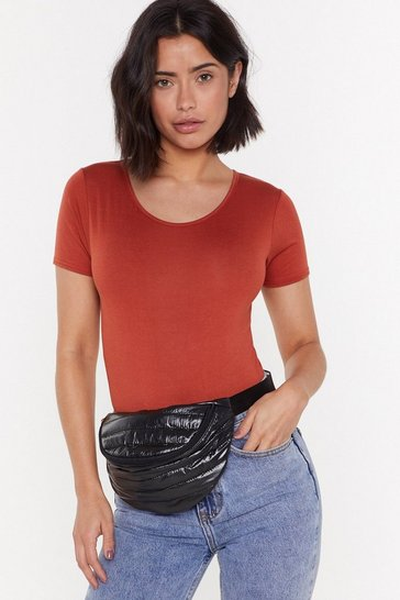 Black WANT What Do You Sheen Padded Fanny Pack