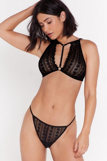 Womens Black Harness Detail Bralet