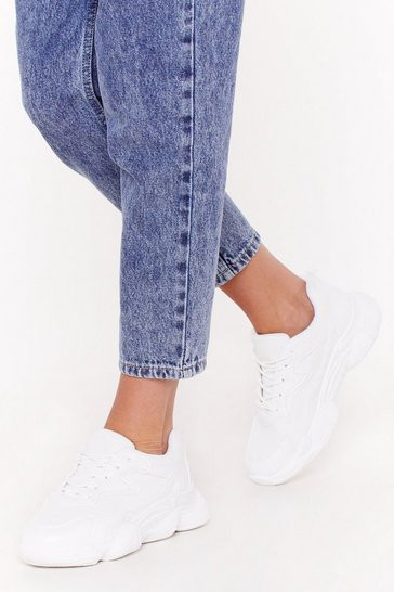 Womens White Hit the Ground Running Chunky Sneakers