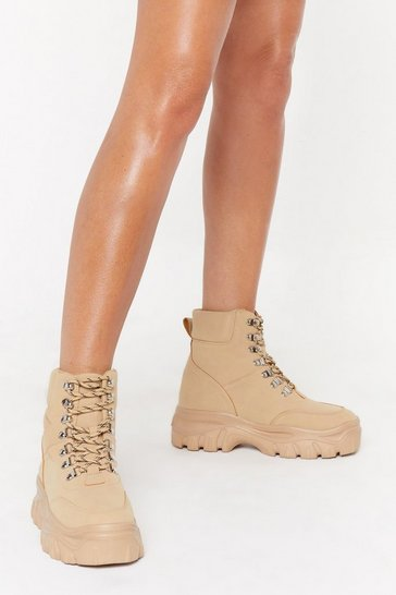 Womens Sand Step in the Right Direction Lace-Up Boots