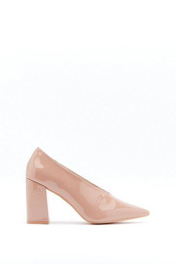Taupe Part Two Tone Patent Faux Leather and Suede Court Heels