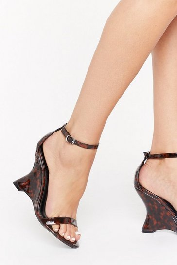Brown We Tort Wrong Patent Faux Leather Wedges