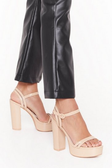Womens Nude Higher Love Faux Leather Platform Heels