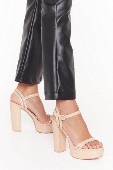 Nude Higher Love Faux Leather Platform Heels