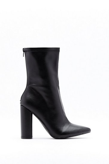 Black Faux Leather Block Heel Boots with High Ankle