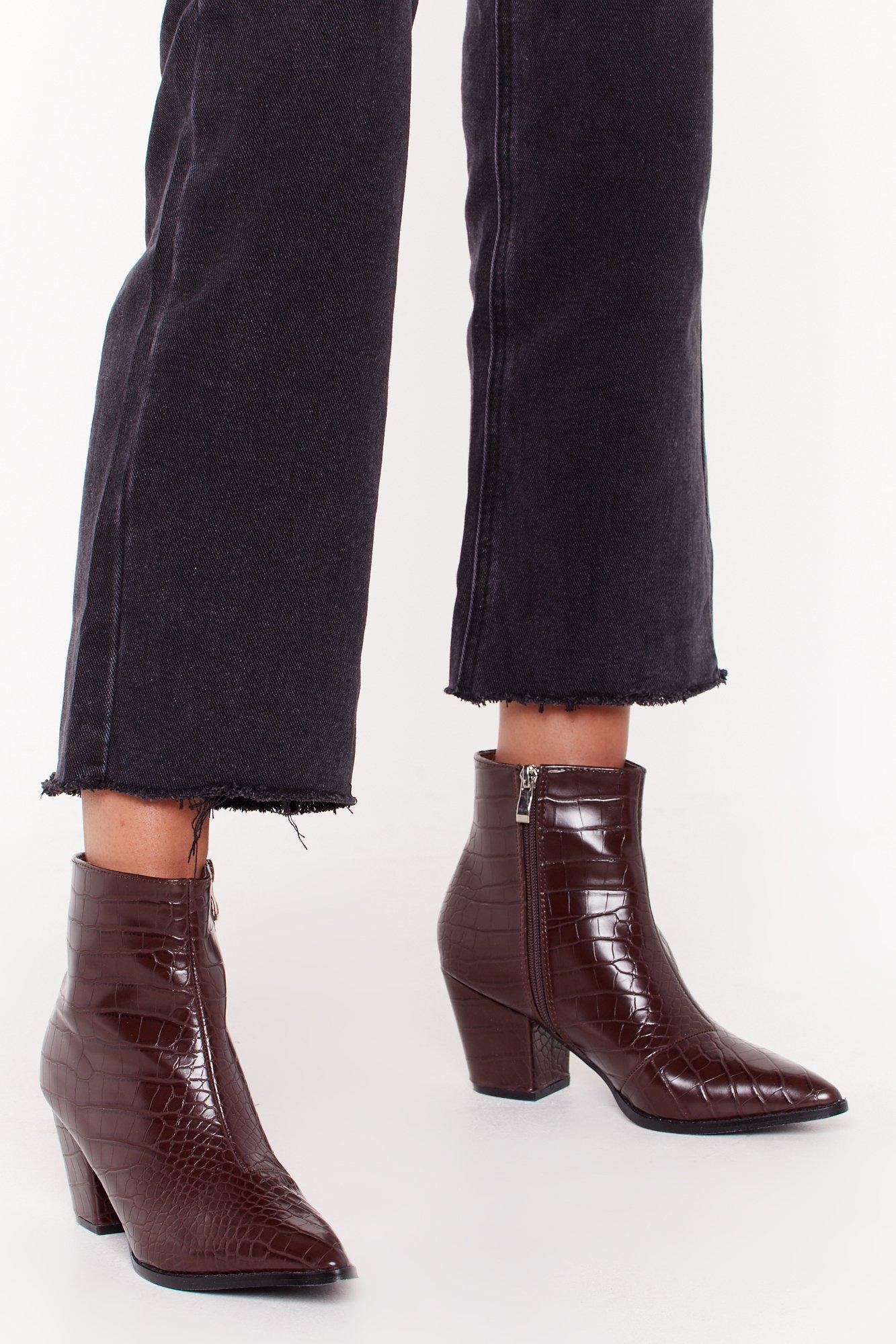 Brown leather XL high heel boots