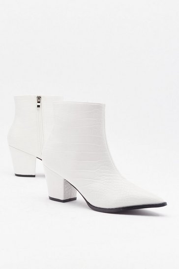 Womens White Pop Croc and Drop Faux Leather Block Heel Boots
