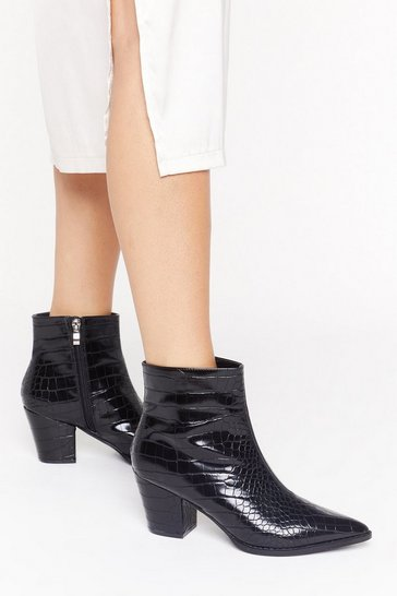 Black Pop Croc and Drop Faux Leather Block Heel Boots