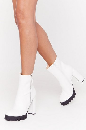 Womens White That's Zip Faux Leather Cleated Boots