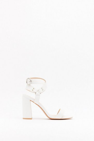 Womens White Ring It On Faux Leather Strappy Heels