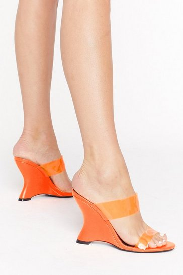 Orange Under Neon Lights Transparent Wedge Heels