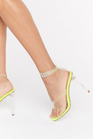Womens Neon-yellow Lets Be Clear Contrast Stitch Heels
