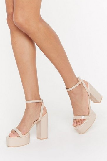 Womens Nude High Above It All Patent Platform Heels