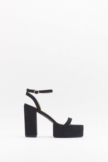 Womens Black High Above It All Faux Suede Platform Heels