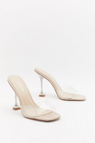 Womens Nude Crystal Clear Perpsex Heeled Mules