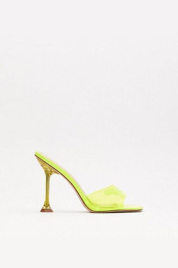 Yellow Crystal Clear Stiletto Mules