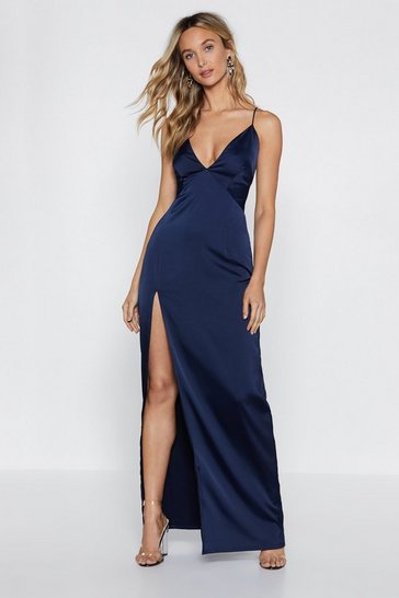 Womens Navy Look At You Satin Maxi Dress