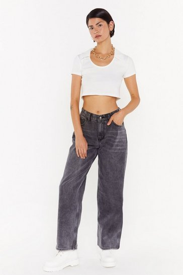 Womens Black Dru Oversized Wide-Leg Jeans
