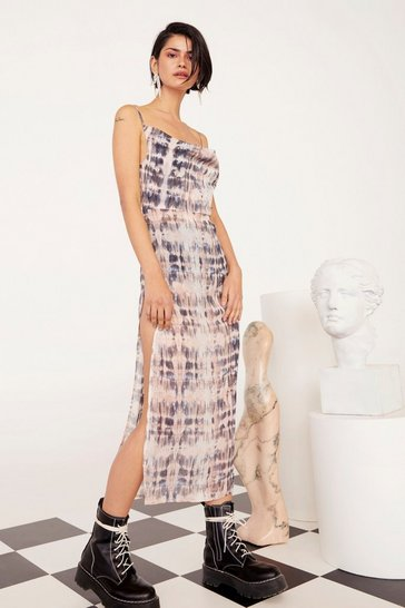 Womens Grey What Do You See Tie Dye Midi Dress