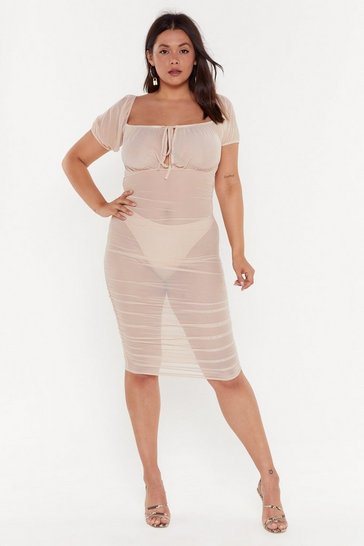 Womens Nude Gather Your Things Plus Mesh Dress