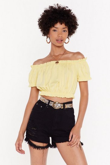 Womens Lemon Love to Show Off-the-Shoulder Crop Top