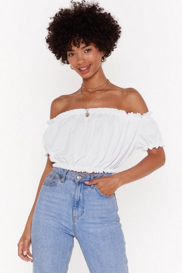 Womens White Love to Show Off-the-Shoulder Crop Top