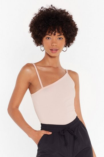 Womens Nude Strap in Asymmetric Crop Top