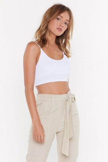 Womens White Don't Crop Believin' Ribbed Cropped Top
