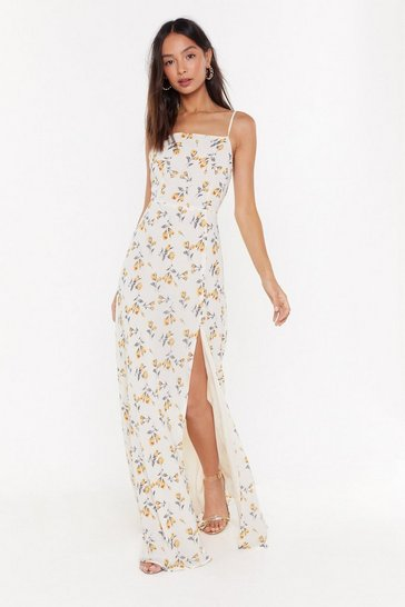 Cream Floral Slit Cami Maxi Dress