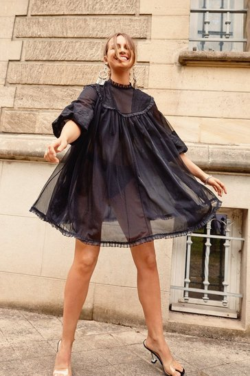 Womens Black Life's a Trapeze Sheer Lace Dress