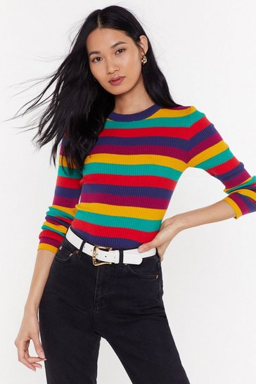 Womens Multi Stripe Ribbed Knit Jumper