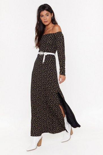 Womens Black Slit for the Job Floral Maxi Dress