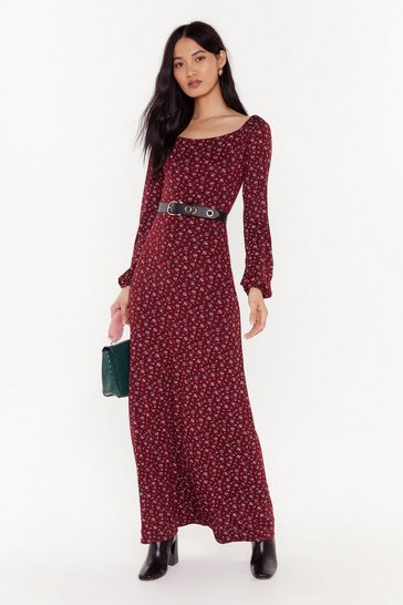Womens Wine Here We Grow Again Floral Maxi Dress