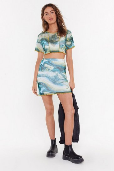 Womens Blue Stare and Marble Mesh Mini Skirt