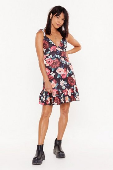 Womens Black Flower You with Love Floral Tie Mini Dress