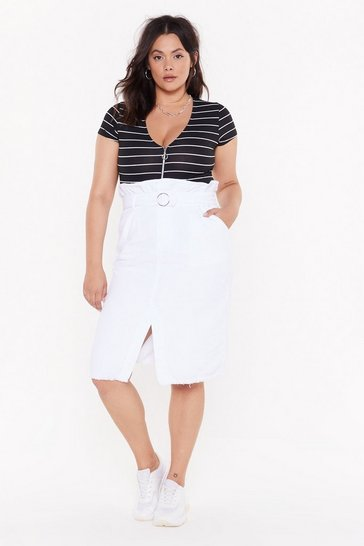 Womens White Buckle Up Buttercup Plus Midi Skirt