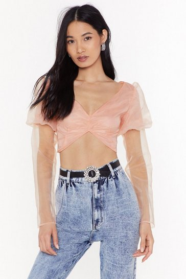 Womens Peach Extreme Behavior Puff Sleeve Cropped Top