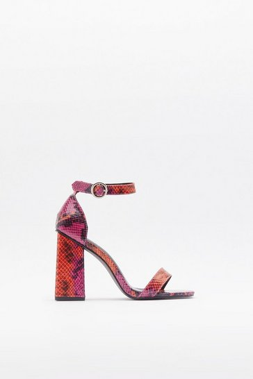 Womens Red Snake a Walk Square Toe Block Heels