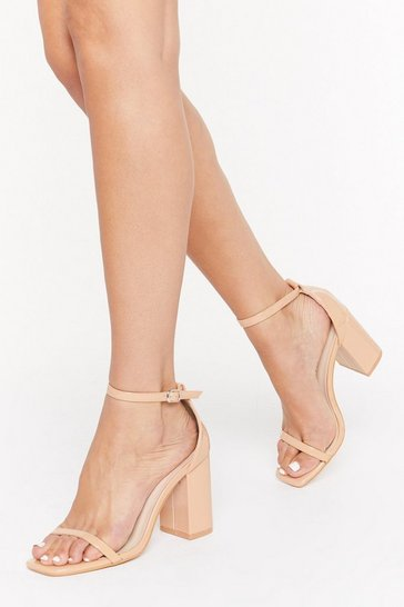 Womens Nude On the Floor Patent Faux Leather Block Heels