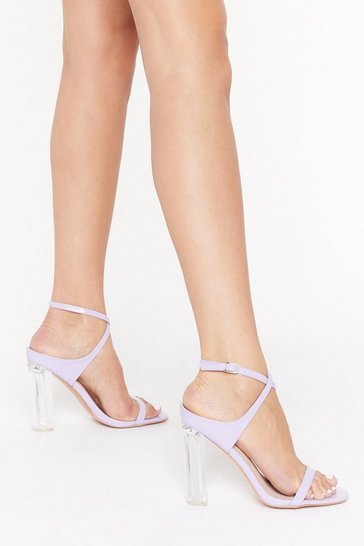 Womens Lilac Caught the Heels Strappy Transparent Heels