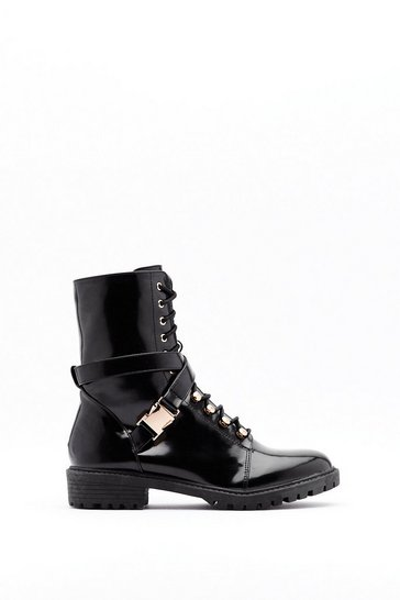 Womens Black What's the Lace Patent Faux Leather Buckle Boots