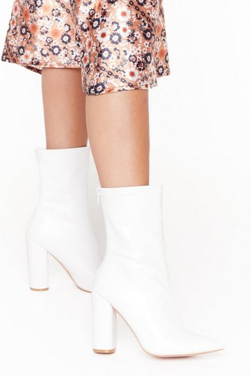 White Looking On Point Faux Leather Block Heel Boots