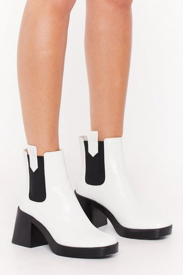 White Square the Gossip Croc Faux Leather Boots